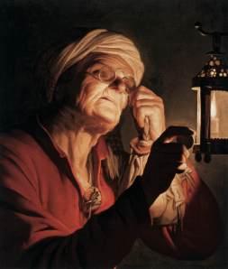 Old Woman Examining a Coin  Gerrit van Honthorst, 1623